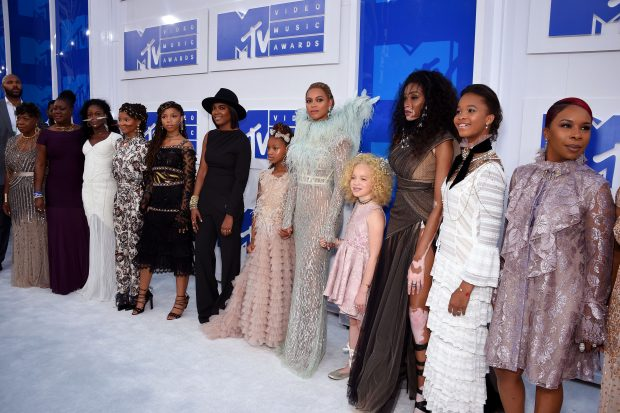 Gwen Carr, Sybrina Fulton, Chloe Bailey, Halle Bailey, Beyonce, Winnie Harlow, Quvenzhane Wallis and Lesley McFadden attend the 2016 MTV Video Music Awards at Madison Square Garden on August 28, 2016 in New York City.