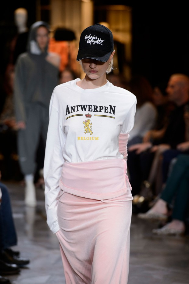 A dad hat walks the runway at Vetements' Fall 2016 haute couture showing.