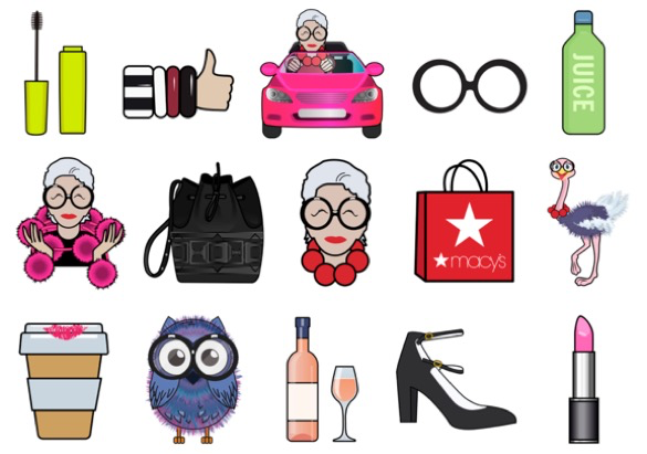 Iris Apfel released a line of emojis to promote her upcoming Macy's collaboration.