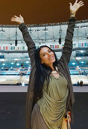 Lea T poses in Brazil's Maracana Stadium, site of Friday's Rio Opening Ceremonies.