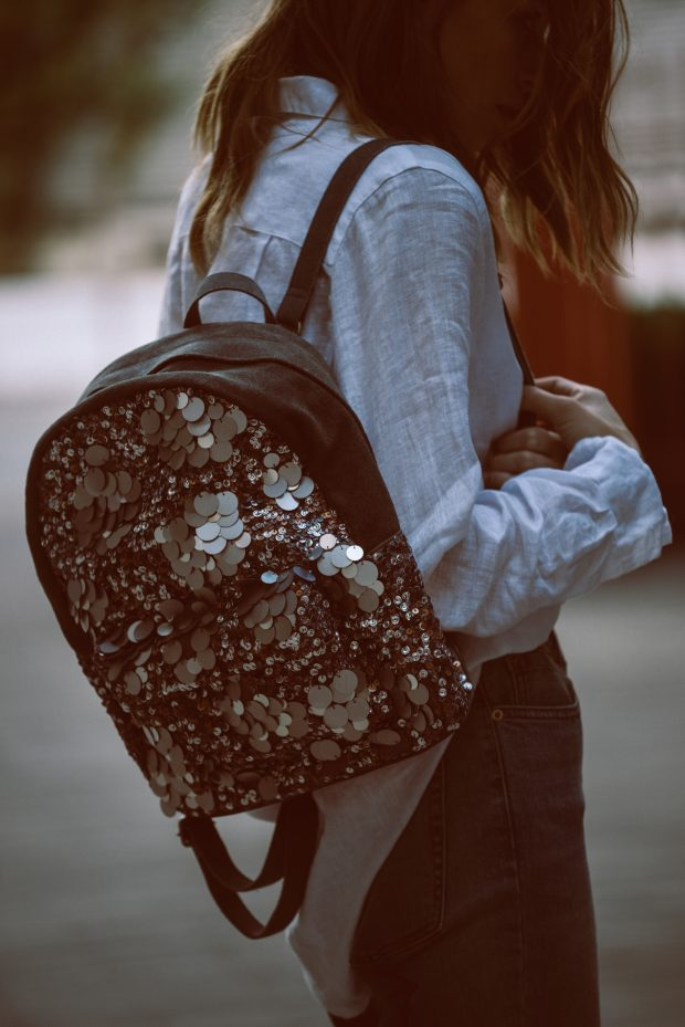 The Olympia Sequined Backpack, a back to school necessity.