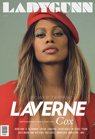 Laverne Cox covers Ladygunn magazine's 14th issue.