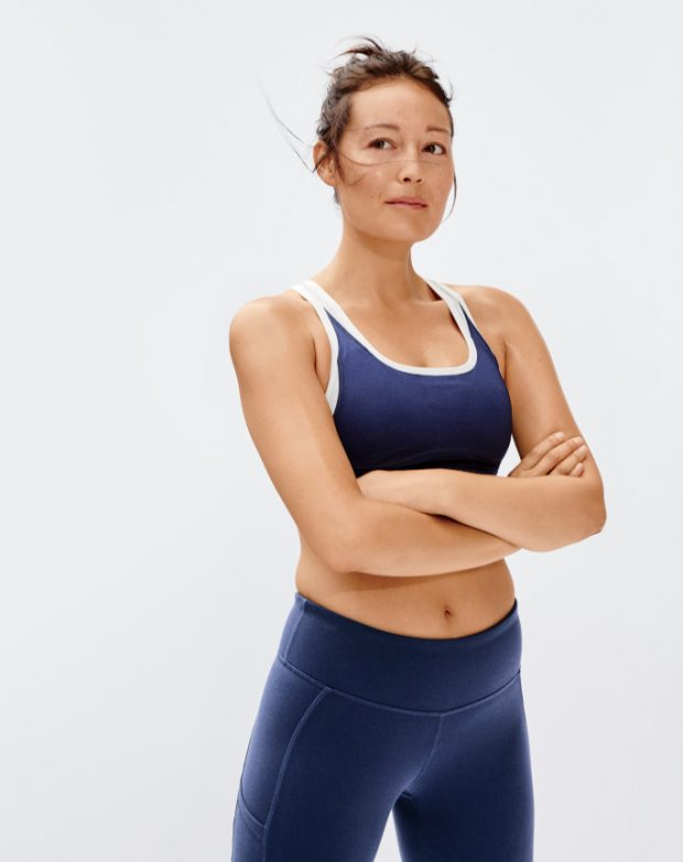 Allure editor Rachel Wang models the New Balance x J.Crew women's active collection.