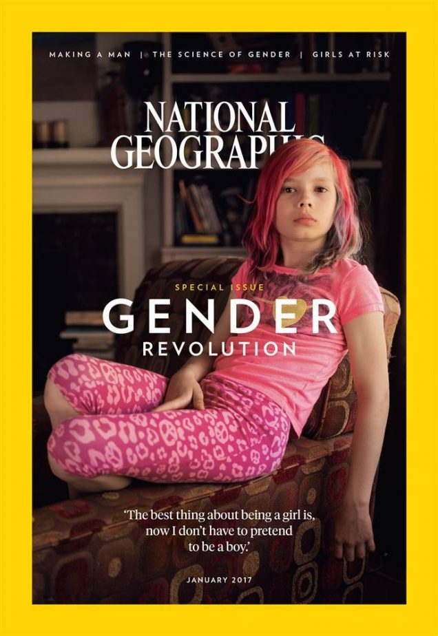 "Transgender activist Avery Jackson covers National Geographic's January 2017 ""Gender Revolution"" issue."