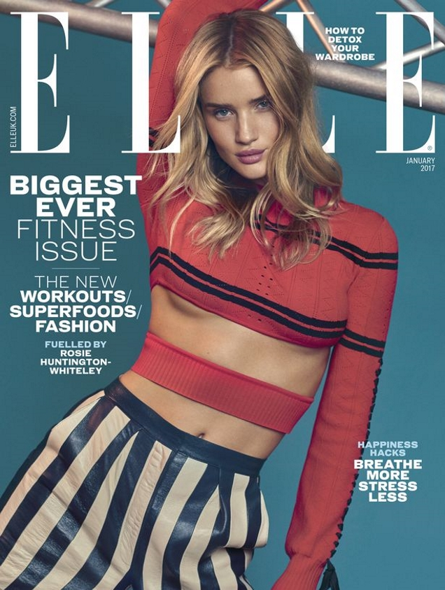 UK Elle January 2017 : Rosie Huntington-Whiteley by Jem Mitchell