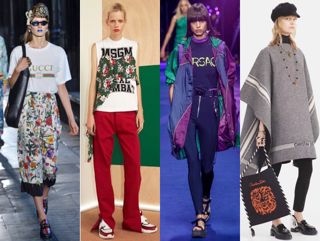 Logos worn on the runway at Gucci Cruise 2017, MSGM Resort 2017, Versace Spring 2017, Christian Dior Pre-Fall 2017