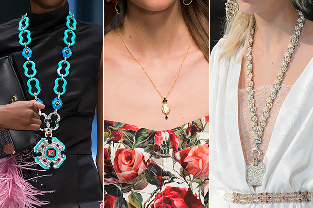 Pendant necklaces at Prada, Dolce and Gabbana and Chanel Spring 2017.
