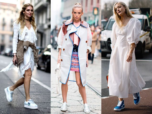 Fashion Month showgoers like Chiara Ferragni (far left) opted for sweet pairs of sneakers instead of sandals to accent their skirts and dresses