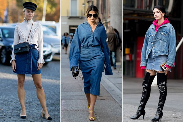 Street style stars offer up fresh new takes on the denim skirt outfit