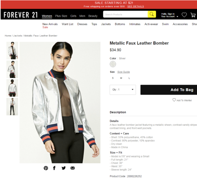 One of the Forever 21 clothing items in question; Image: Case Document