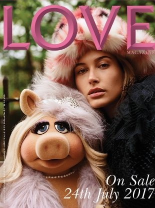 Love #18 F/W 2017.18 : Hailey Baldwin & Miss Piggy by Alasdair McLellan
