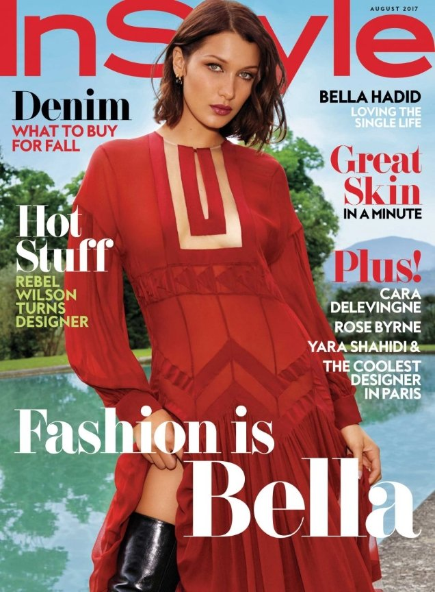 US InStyle August 2017 : Bella Hadid by Kacper Kasprzyk
