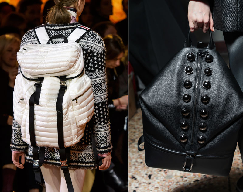 Backpacks on the Moncler Gamme Rouge and Etienne Aigner Fall 2017 runways