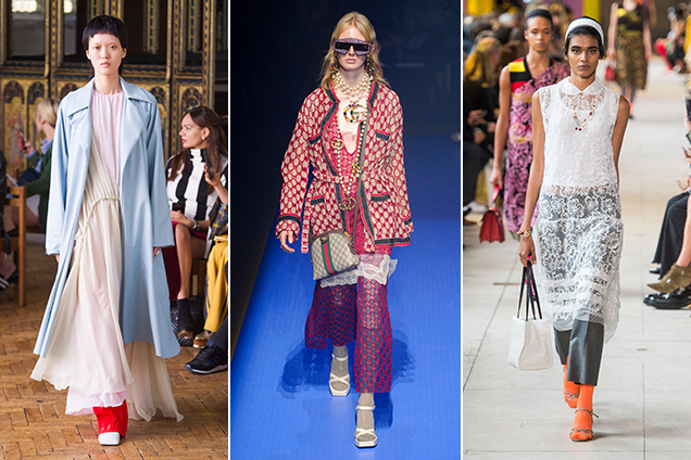 dress over pants at Sharon Wauchob Spring 2018, Gucci Spring 2018, Miu Miu Spring 2018