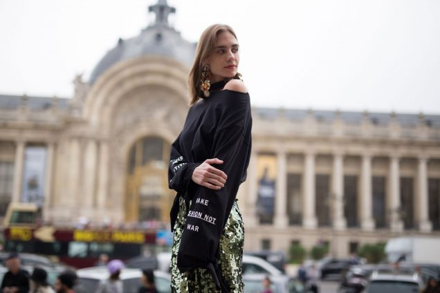 woman wearing sequin skirt street style