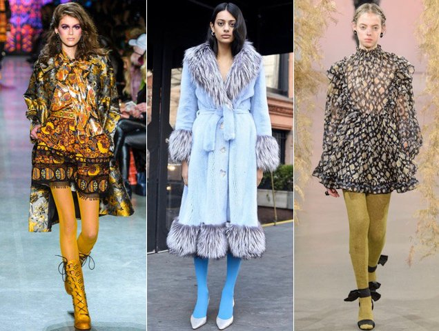 Colorful tights for women proved popular at New York Fashion Week at Anna Sui Fall 2018, Saks Potts Fall 2018, Ulla Johnson Fall 2018