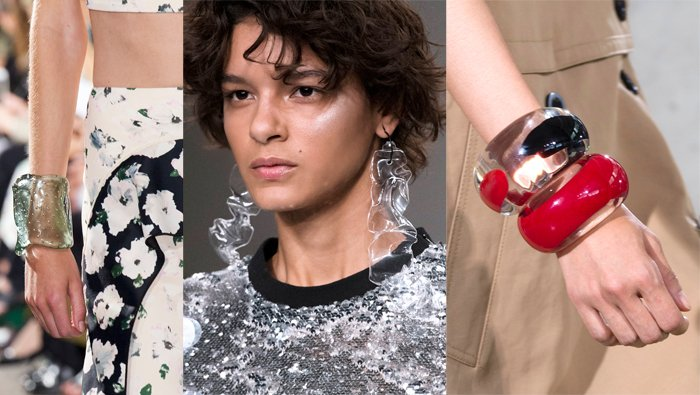Acrylic jewelry at Proenza Schouler, Fyodor Golan and Phillip Lim Spring 2018