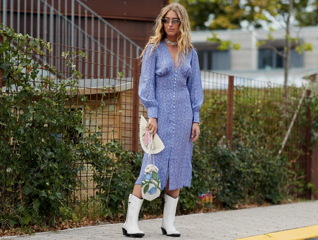 cowboy boots and dress, street style