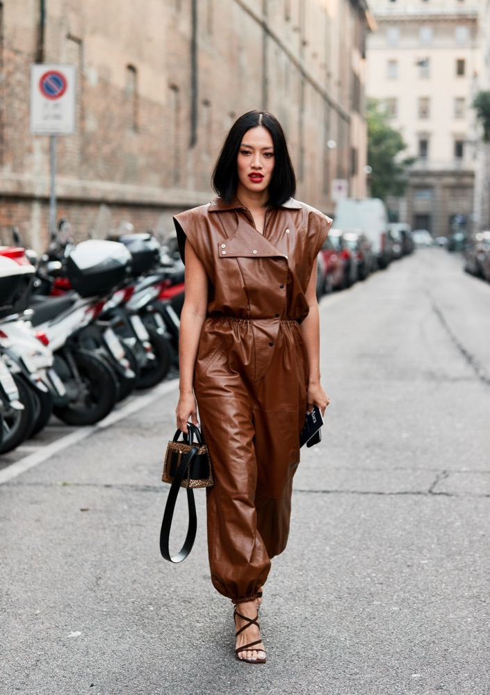 Jumpsuits also come in leather.