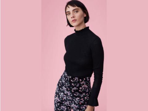 Rebecca Taylor Smocked Rib Pullover In Black