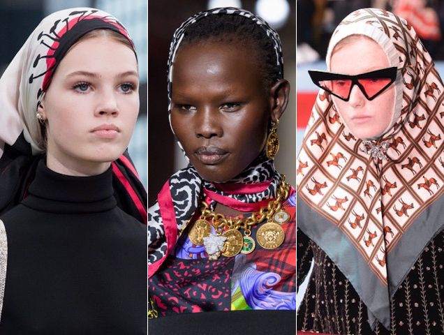Silk scarves wrapped up lots of looks for Fall 2018.