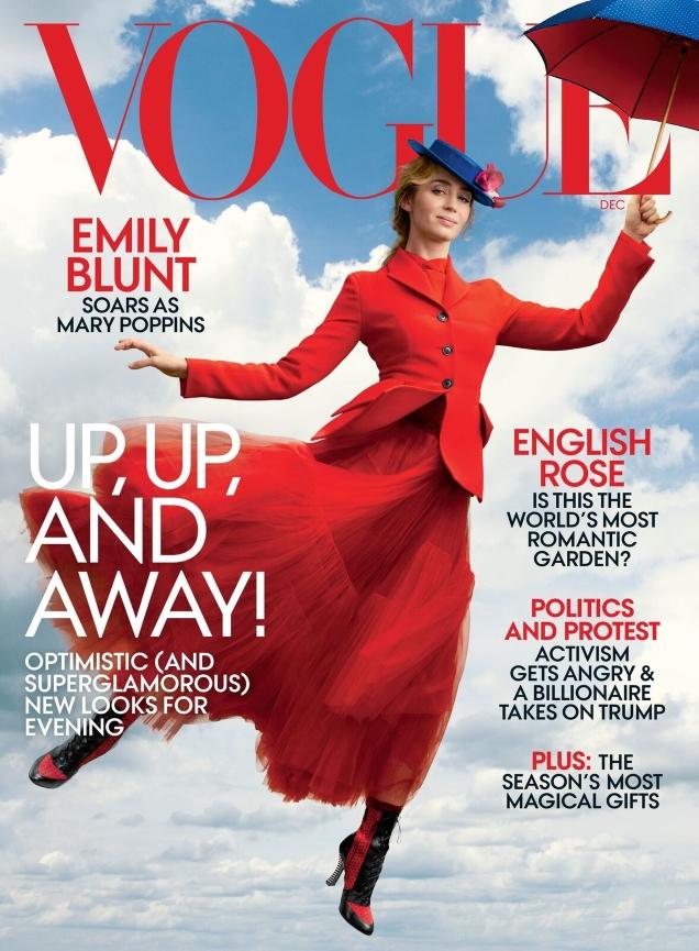 US Vogue December 2018 : Emily Blunt by Annie Leibovitz