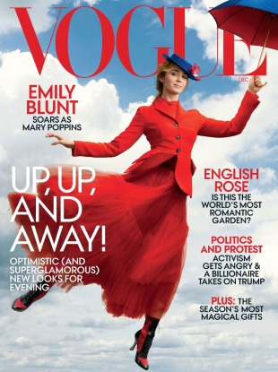 US Vogue December 2018 : Emily Blunt by Annie Leibovitz
