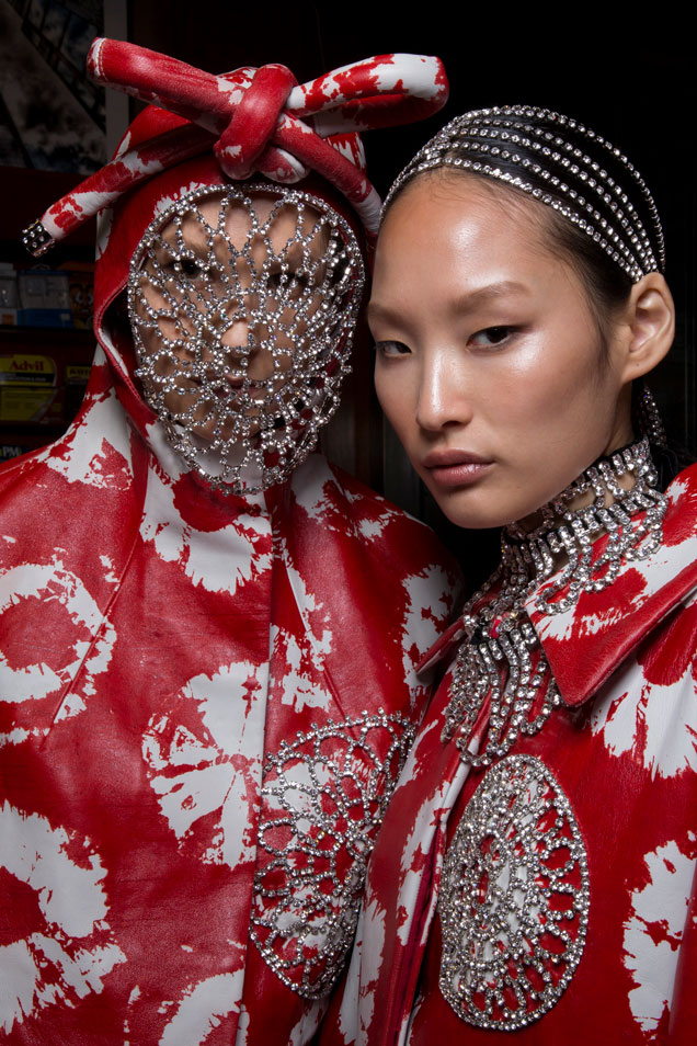 Models backstage at Area Fall 2019.