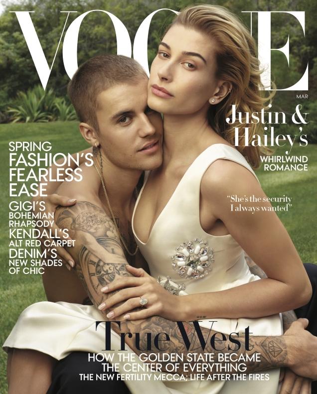 US Vogue March 2019 : Hailey & Justin Bieber by Annie Leibovitz