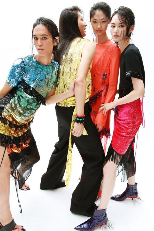 Dara Allen, He Cong, Sijia Kang and Zhengyang Zhang for Prabal Gurung Spring 2019.
