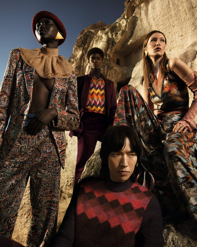 Adut Akech, Alton Mason, Dong Su Moon and Bella Hadid for Missoni Fall 2019.