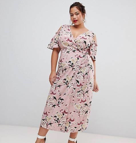 Lovedrobe  10 Versatile Dresses That Will Take You From Work to Play Lovedrobe Cold Shoulder Midi Dress in Pink Floral