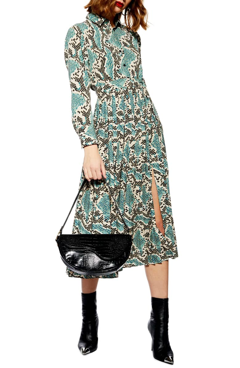 Topshop  10 Versatile Dresses That Will Take You From Work to Play Topshop Python Pleated Shirtdress