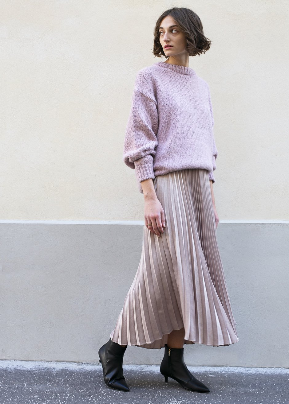 The Frankie Shop  27 Midi Skirts You Need in Your Closet ASAP Frankie Shop Shimmer Pleated