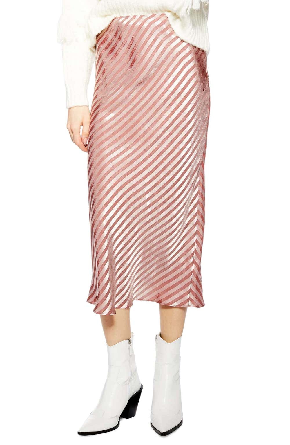 Topshop  27 Midi Skirts You Need in Your Closet ASAP Topshop Stripe Satin