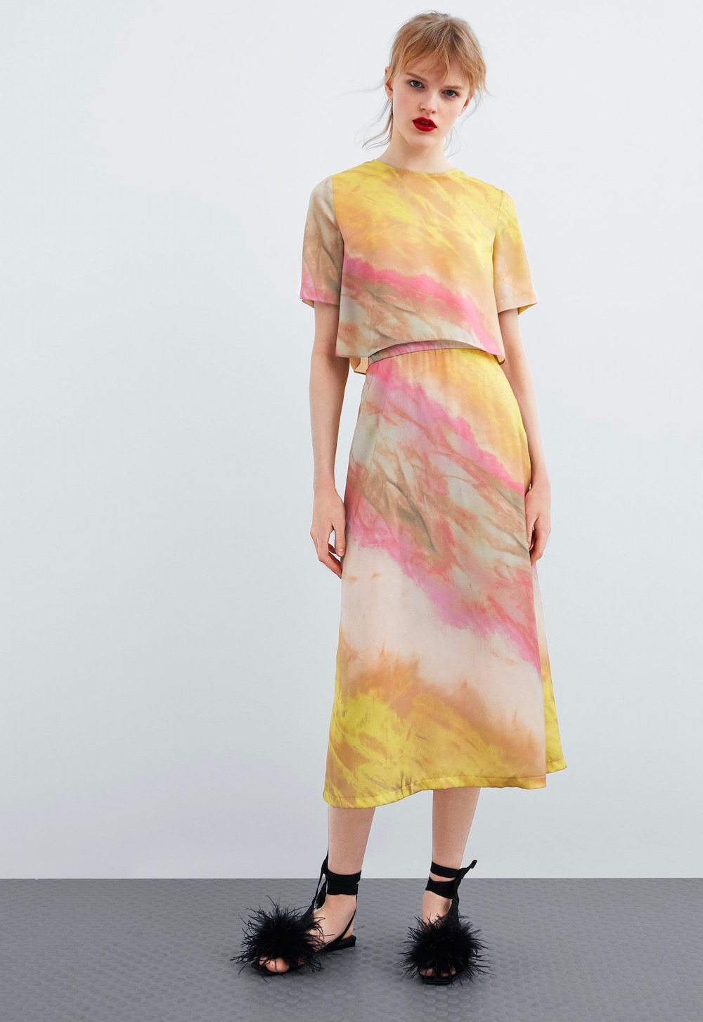 Zara  27 Midi Skirts You Need in Your Closet ASAP Zara Tie Dye