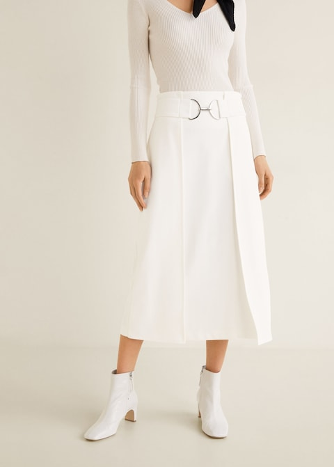 Mango  27 Midi Skirts You Need in Your Closet ASAP mango belt skirt orig