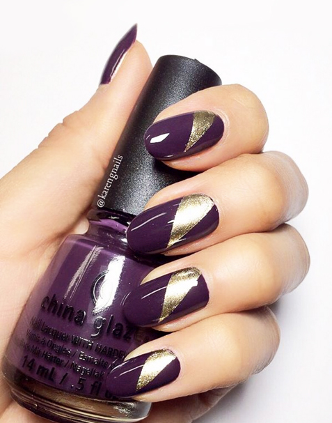 A Slice of Gold Nails - 11 Cute Nail Designs To Up Your Nail Art Game - TheFashionSpot